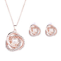 Rose Gold Plated Elegant Pearl Pendant Necklace Earrings Jewelry Women Weddings