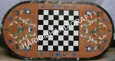 4'x2' Marble Unique Dining Chess Table Top Fine Amazing Marquetry Inlaid E1197