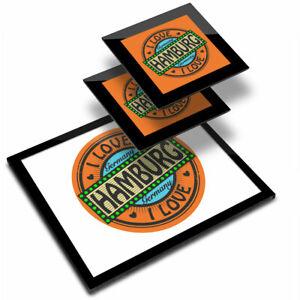 Glass Placemat  & 2x Coaster  - I Love Hamburg Germany Orange German  #7310