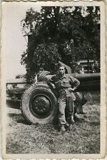 PHOTO ANCIENNE - VINTAGE SNAPSHOT - MILITAIRE CANON SOLDAT - MILITARY SOLDIER