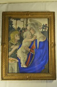 Antique Jesus & Saint Mary Framed Print with Hand Painted Embellishments 1800's