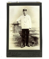 Antique Late 1800s to 1900s Cabinet Card Photograph Brooklyn NY Young Man Sailor
