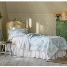 Simply Shabby Chic WALLPAPER IKAT Blue Green Patchwork Ruffle Quilt - Full/Queen