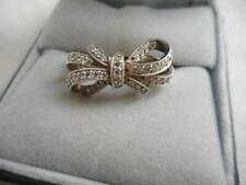 Epiphany 925 sterling & diamonique CZ tied bow ring - size 9
