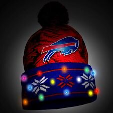 Buffalo Bills Big Logo Light Up Printed Beanie Winter Hat Toque Cuffed Pom NEW