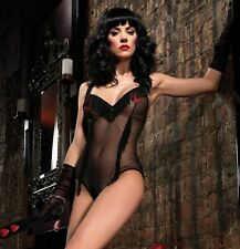 Mesh Teddy W/Fringe & Hearts, Leg Avenue, Lingerie, Bodysuit, Burlesque, Pin-Up