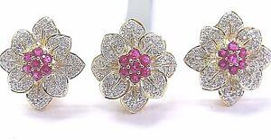 18Kt Gem Ruby & Diamond Yellow Gold Ring & Earring 3.53Ct