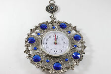 Turkish Nazar Glass Evil Eye Wall Clock Nazarboncuk Hanging Carm Home Decor 30cm