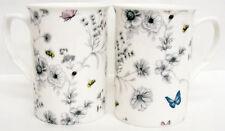 Secret Garden Mugs Set of 4 Bone China Floral Butterfly Mugs Hand Decorated UK