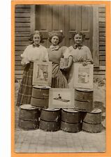 Real Photo Advertising Postcard RPPC  -Women with Rexine Can and Advertisements