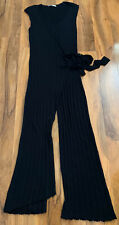 ZARA Black Rib Knit V-Neck Sleeveless Wrap Over Tie Front Jumpsuit Size L 14-16