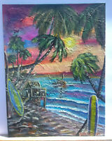 Original Acrylic Painting12x16 Tropical Paradise Canvas Panel,Beach,Coastal Art