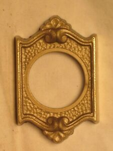 "ornate vintage antique door lock plate architectural brass cover 1.5"" hole diam."