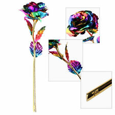 Rainbow Color Gold Foil Plated Rose Romantic Lover/Mother/Friend Best Gift