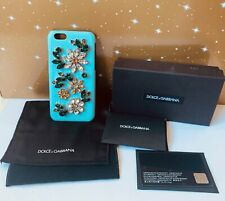 BN Dolce&Gabbana D&G Crystal Embellished Turquoise Leather Hard Case iPhone 6 6S