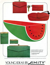 Amity French Clutch PURSE Key Glass Cigarette Case WATERMELON RED GREEN 1965 Ad