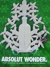 Lot of 5 ABSOLUT Vodka Wonder Snowflake Ornaments NEW Frozen 3D mylar decoration