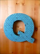 "INDUSTRIAL BLUE METAL WALL LETTER ""Q"" 20"" TALL rustic vintage decor antique sign"