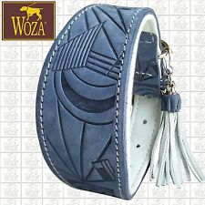 WOZA Premium Greyhound Collar Full Leather Padded Soft Cow Napa Handmade HM28