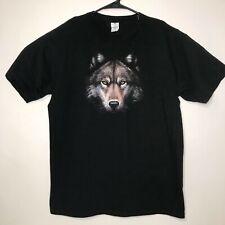 Wolf T Shirt Cyngus Size Large Black Short Sleeves Lone Wolf Face 100% Cotton