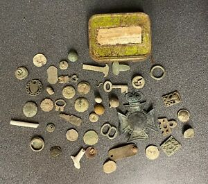 RIVER THAMES RELICS GABRIELS WHARF SHORELINE, HELMET PLATE, BUTTONS,IN OLD TIN