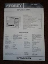 MF FIDELITY AVS 2000 Audio Visual System TV Service manual wiring parts diagram