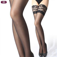 Women's Ladies Sexy Ultra thin Sheer Lace Top Thigh High Silk Stockings Hold Up