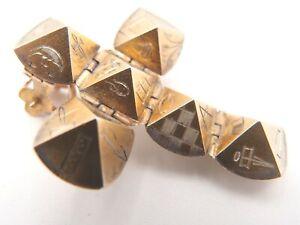 ANTIQUE EDWARDIAN 9ct GOLD SILVER MASONIC ORB HOLY CROSS PENDANT + HM RING 8.5g