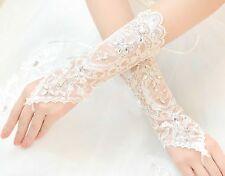 Ivory (White) Victorian Lace Wedding Bridal Rhinestone Crystal Fingerless Gloves