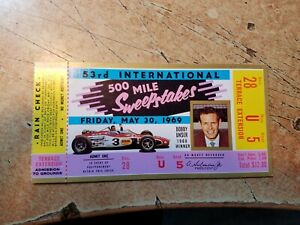 May 30 1969 500 Mile Sweepstakes Auto Race Indianapolis Speedway Ticket Stub