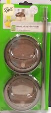 Ball Set of 2 Drinkware Series Mason Jar Sip and Straw Lid - Wide Mouth New