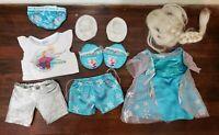 """Build a Bear BABW Frozen Elsa Dress, Clothes, Shoes, Wig Lot for 16"""" Plush"""