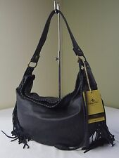 Patricia Nash Navy Leather Vincenzo Fringe Hobo Shoulder Bag
