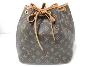 Auth Louis Vuitton Monogram Petit Noe Shoulder Bag Browns AR1907 M42226