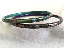 Cloisonne Stackable Bracelets one cobalt blue, one teal with flower/leaf design
