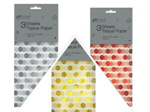 Luxury Foiled Tissue Paper Large Polka dot Xmas Gift Wrap Christmas Decoration