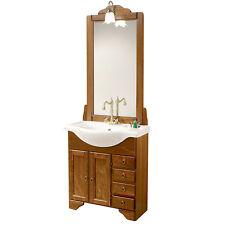 Mobile bagno arte povera lavabo da cm 75 con cassetti ante specchiera + applique