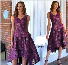 High And Low Size 14 Formal Wedding Party Dress Grape / Purple