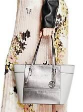 NWT GUESS Delaney Classic Tote Handbag Purse Safiano Metallic Silver