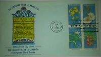 ANDREWS FOR GARDEN CLUB ENDANGERED FLORA HAND PAINTED HP FIRST DAY COVER FDC