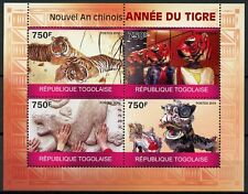 Togo Year of Tiger Stamps 2010 MNH Tigers Chinese Lunar New Year 4v M/S