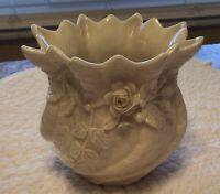 Vintage Irish Belleek Applied White Rose Spill Vase