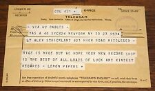 THE LEMON PIPERS 1968 TELEGRAM  TO ALEX STRICKLAND WEMBLEY RECORD SHOP