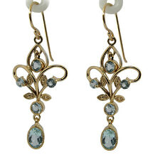 Genuine 9K Yellow Gold Natural Topaz Filigree Dangle Earrings Vintage style