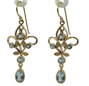 Genuine 9K Yellow Gold Natural Topaz Filigree Dangle Earrings Vintage style