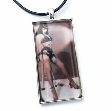 Betty Page Glass Tile Pendant With Necklace