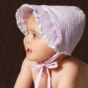 NWT Huggalugs Girls Pink Seersucker Bonnet Size 18-24 Months