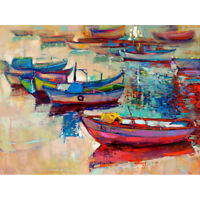 Boats And Ocean Painting Art Print Canvas Premium Wall Decor Poster