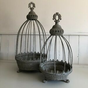 metal caged planters set of 2