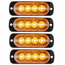 4x Amber 4LED Emergency Warning Flash Strobe Light Bar Beacon Caution Tow Truck